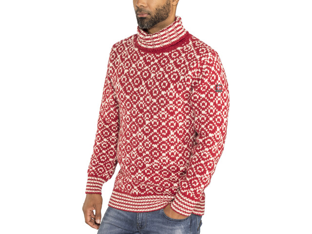 Devold Svalbard High Neck Sweater Herre hindberry/offwhite